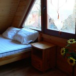 Domek wędkarski sypialnia podwojne lozko